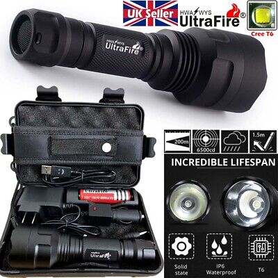 Tactical Flashlight 150000LM CREE T6 LED 18650 Torch Work Light Headlamp Camping