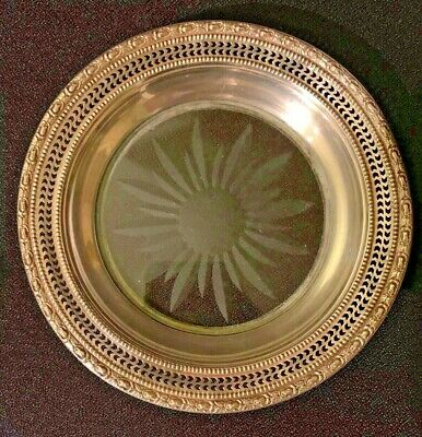 Frank M Whiting Talisman Rose Wine COASTER Sterling Silver Crystal Dish 1658 6.5
