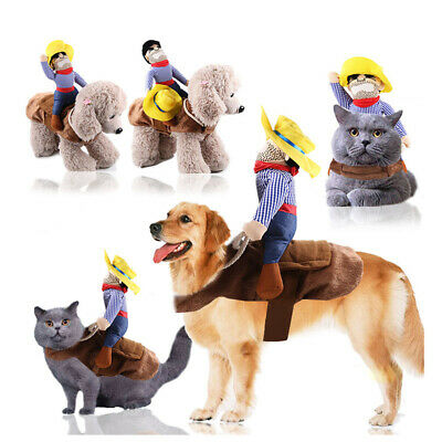 Funny Pet Dog Cat Puppy Costume Halloween Xmas Cowboy Rider Fancy Dress Clothes