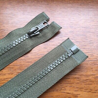"""KHAKI GREEN CHUNKY PLASTIC OPEN END ZIP -10""""/ 25 CM BEST QUALITY (No 5 weight)"""