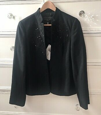 ☆ COAST ☆ Stunning Black Embellished 'Marinella' Jacket, Sz 12, BNWT £140