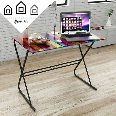 Retro Study Glass Desk Novelty Laptop Computer Table Office Writing Workstation