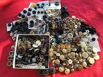 4 Pounds Beautiful Vintage Buttons -Great Variety & Bonus of Antique Needles