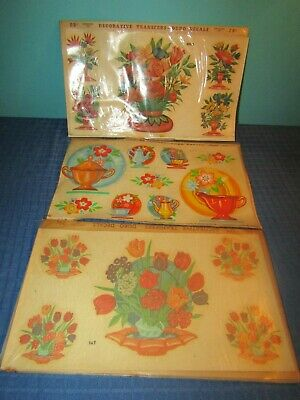 Duro Decals 1950's Unused Decals Lot of 3 Sets Flowers Bouquets