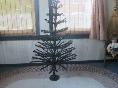 45'' Tall Black Halloween / Xmas Tree Tinsel Feather Style Holiday Tree