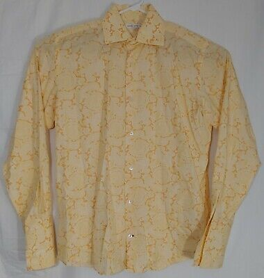 Banana Republic Mens Large Long Sleeve Yellow and Orange Paisley Button Down