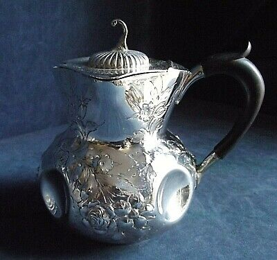 SUPERB Ornate ~ SILVER Plated ~ FLUTED Juice / Water JUG ~ c1900 by John Round