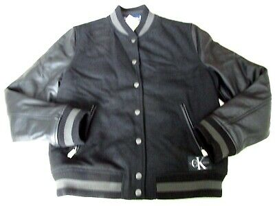 NEW Calvin Klein Jeans Wool Jacket with Leather Sleeves Boys M 10-12 Black $268.