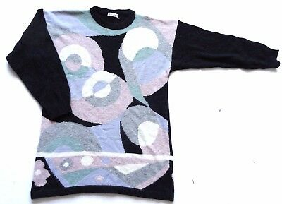 Women's Vintage 80's Oversized Abstract Patterned Jumper Retro 14
