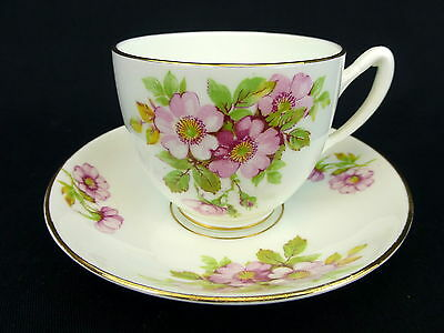 Duchess Cup and Saucer Pink Rose Wild Flower Floral Bone China England Gold Trim