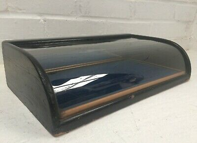Small antique bowed glass counter top display case 41cm wide Lift out tray c1900