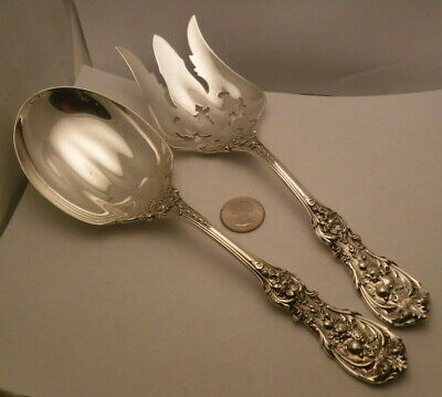 "Reed & Barton Francis 1 Large Sterling Silver Salad Servers 9 3/8"" 8.8 ounces"