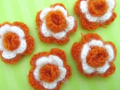 SALE 30 Hand Crocheted 2 layer Flower Applique//bow//trim//Sewing//Yarn C15-Winter