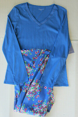 NWT Laura Scott Womens Blue Floral Print Pajamas Lightweight LS 2 Pc L