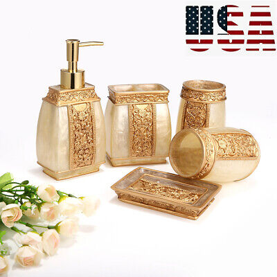 5X Bathroom Accessory Set Resin Tumbler Toothbrush Dispenser Soap Cup Holder