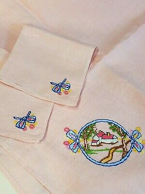 Vintage PINK Linen Tablecloth & 2 Cloth Napkins EMBROIDERED with Farm Scene