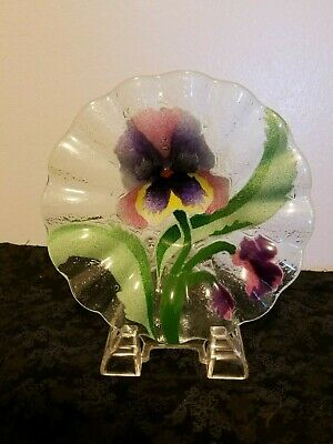 Unique Decor, Collectable Decorative Kiln fired and fused art Pansy