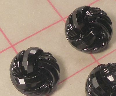 "4 Black Czech Pressed Glass Shank Buttons Spiral Facet Design 7/8"" 22mm #829"
