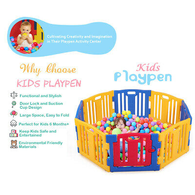 8 Sided Panel Baby Playpen Interactive Kids Toddler Safety Gates Child Barrier