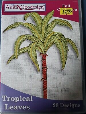Tropical Leaves Machine Embroidery Anitagoodesigns