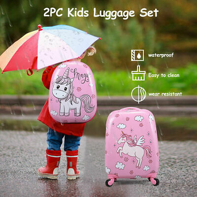 2PC Kids Luggage Set 12''+16'' Suitcase Backpack Travel School Trolley Pink