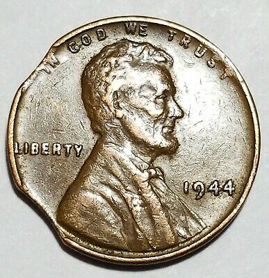 1944 - Double Curved Clip - Lincoln Wheat Cent Mint Error #7627