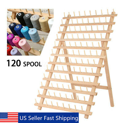 120 Spool Wood Thread Cone Holder Rack Sewing Quilting Embroidery Organizer US