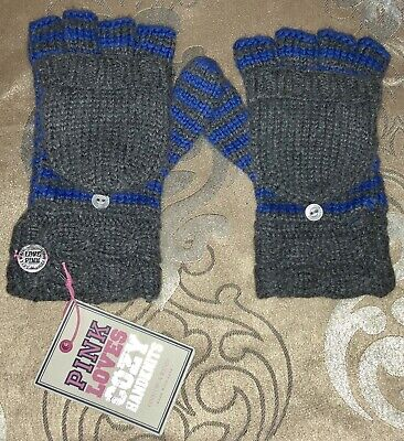 Nwt Victoria's Secret Pink Blue/Gray Fingerless Cozy Mitten Gloves