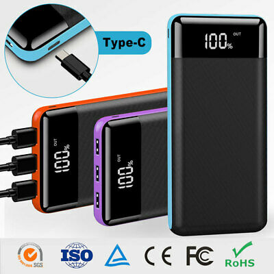 Portable 500000mAh External Power Bank Pack 3USB Battery Charger fr Mobile Phone