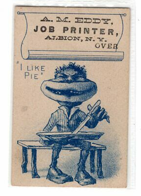 VTC VERY Racist Black Man EDDY JOB PRINTER Albion NY ADVERTISING TRADE CARD