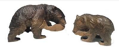 Bear Wooden Hand Carved Black Forest Antique 2pc Fishing Salmon