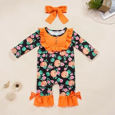 CA Newborn Baby Girls Halloween Pumpkin Clothes Floral Romper Jumpsuit  Outfit