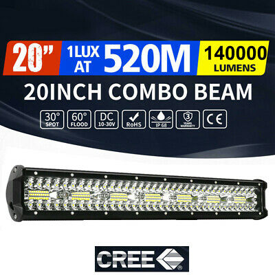 CREE LED Light Bar 20 inch Tri-row Spot Flood Combo Driving Offroad Truck 4WD AU