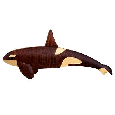 """Wood Intarsia Orca Killer Whale Magnet Handcrafted 4.75"""" Long New!"""