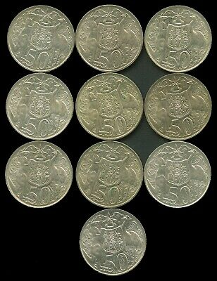 1966 Round 50c pieces x 10. 80% Silver bullion Buy more coins and save up to 20%