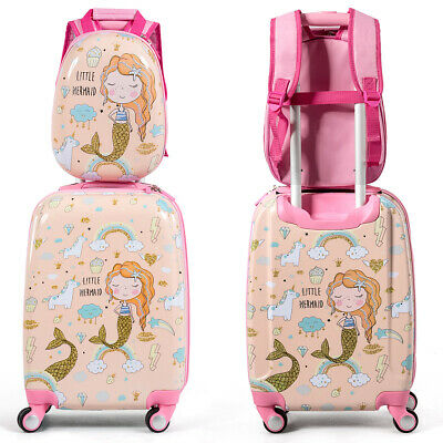 "18'' Carry On Suitcase Wheels & 12""Travel Backpack Mermaid 2PC Kids Luggage Set"