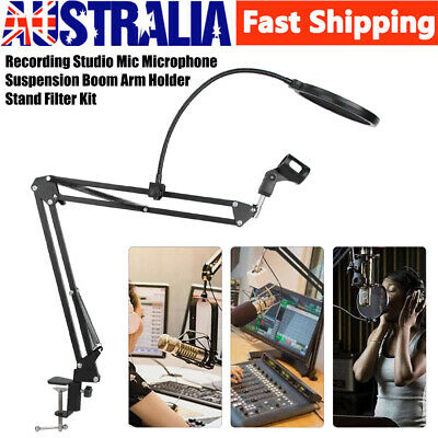New Recording Studio Broadcast Microphone Suspension Arm Holder Stand Filter Kit