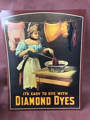 Older Reproduction Of 1910-1915 Diamond Dyes Tin Advertisement Pressed Tin