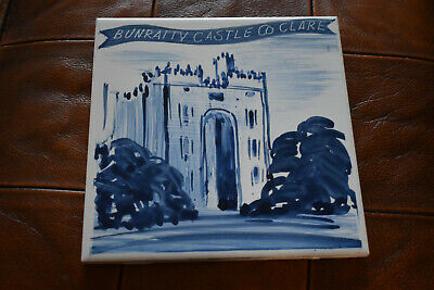 BUNRATTY CASTLE CERAMIC TILE Carrigaline, Co Clare, Ireland, Irish, blue & white