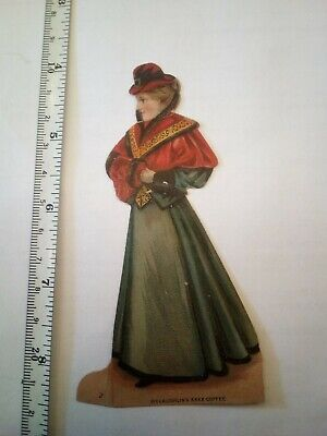 McClaughlin Coffee Paper Doll girl  Victorian Advertising Trade Card 1800's