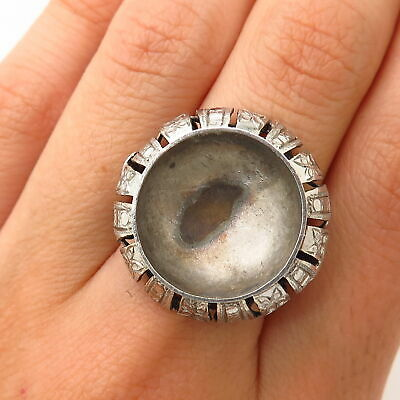 925 Sterling Silver Antique Military Ornate Design Wide Ring Size 6.5