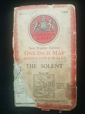 Antique Ordnance Survey Map Of Solent Portsmouth Isle Of White Area England