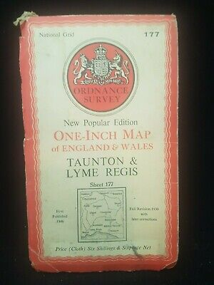 Antique Ordnance Survey Map Of Taunton And Lyme Regis Somerset Area England