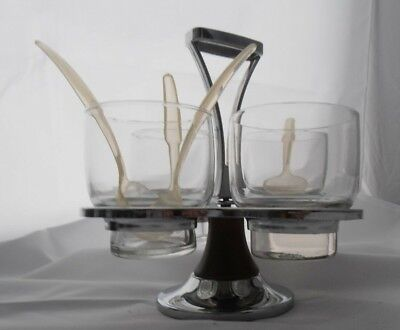 Mid Century Modern Chrome wood Lazy suzan condiment server with glass and spoons