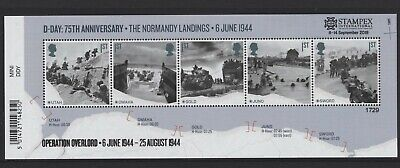 2019 75th Anniversary of D-Day Landings Minisheet with Autumn Stampex OVERPRINT.
