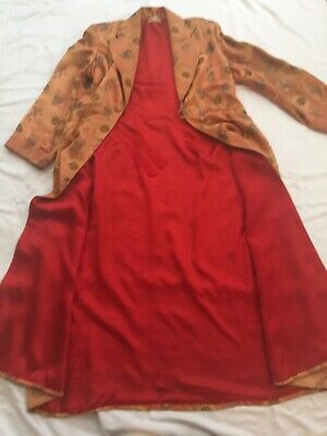 ANTIQUE WOMEN's CHINESE SILK ROBE. GOLD LINED WITH RED WITH BELT. SIZE 4-8.