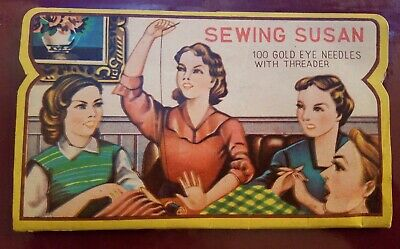 Colorful Vintage Sewing Susan Gold Eyed Needles Hand Sewing and Darners