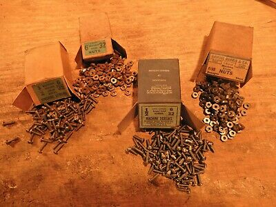 machine bolts screws nuts 6/32 x 1/2 in. lot antique slotted round head fastener
