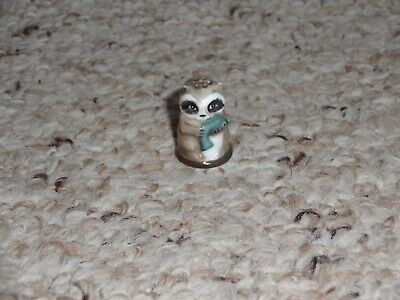 1982 Franklin Mint 1982 Friends of the Forest Porcelain Thimble Raccoon