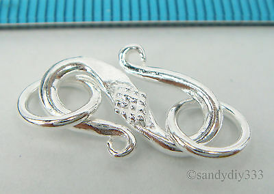 1x BRIGHT STERLING SILVER FLOWER S HOOK HEAVY CLASP 17.3mm #2157